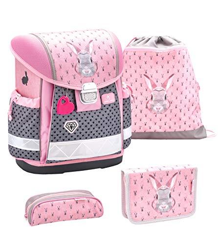 Belmil Schulranzen Set 4 - teilig ergonomischer Schulranzen Mädchen 1. klasse 2. klasse 3. klasse - Super Leicht 860-950 g/Grundschule/Hase grau rosa (403-13...