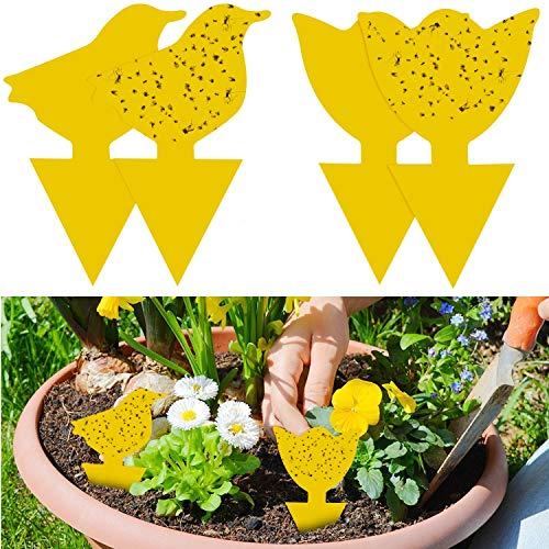 YHmall 48Pcs steckbare Fliegenfalle Gelbtafeln Gelbsticker Schütz Pflanze vom trauermücken Blattläuse, Minierfliegen und Ungeziefer, Ideal für Pflanzen Auf...