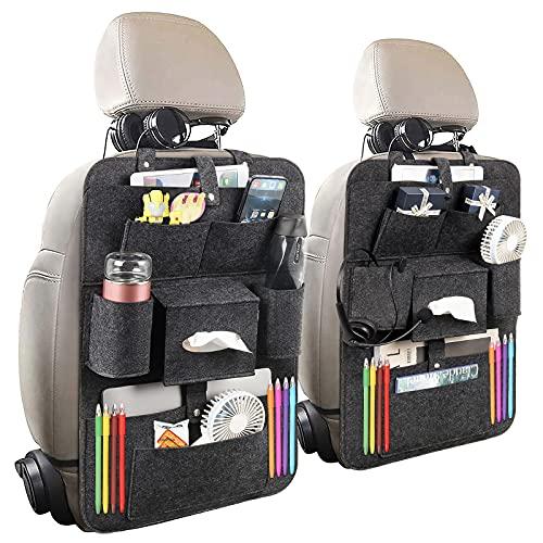 Auto Rückenlehnenschutz, 2 Stück Wasserdicht Auto Rücksitz Organizer für Kinder (grey)