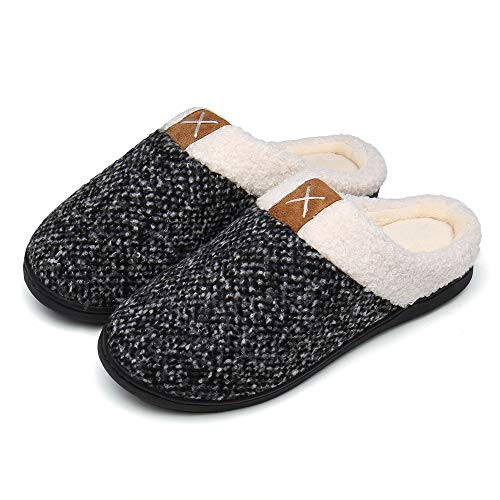 UBFEN Herren Damen Hausschuhe Memory Foam Winter Pantoffeln Wärme Halten House Schuhe Drinnen und Draußen Grau 40 41 EU