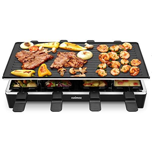 Cusimax Raclette Grill mit Reversible Grillpfanne, Steuerung Partygrill für 8 Personen,Stufenlos Regulierbare Temperatur, 8 Mini Pfännchen,...