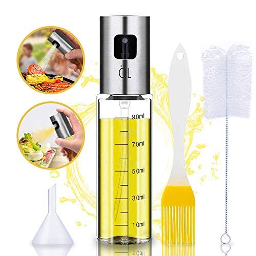 Oil Sprayer Olivenöl Sprüher zum Kochen 4 in 1 nachfüllbare Öl- und Essigspender Flasche mit Backpinsel, Flaschenbürste und Öltrichter zum Grillen, Salat...