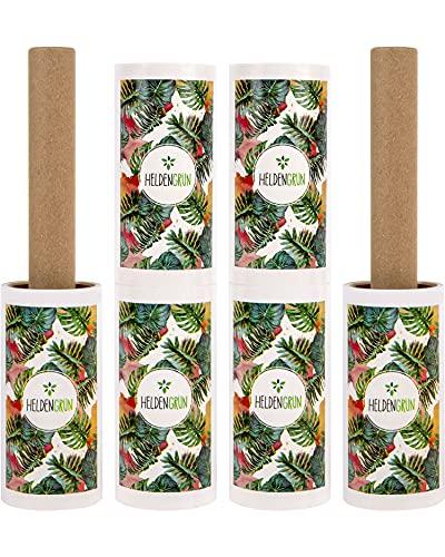 Heldengrün® Öko Fusselrolle 6er-Set [PLASTIKFREI] - Starker Öko-Klebstoff - 100% Recyclingkarton - Nachhaltige Produkte: langlebige Fusselbürste - Zero...