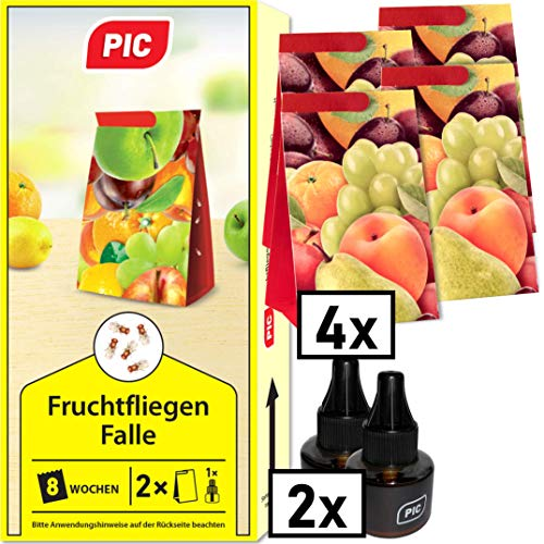 PIC - Fruchtfliegenfalle, Obstfliegenfalle und Essigfliegenfalle - 2 Lockstoffbehälter mit 4 Leimfallen für extra Lange Wirkung - Mittel um Fruchtfliegen zu...