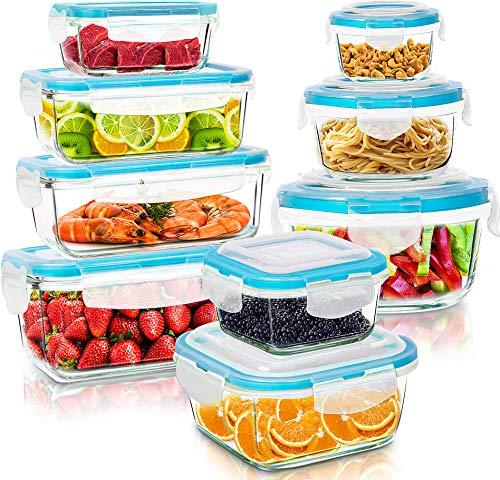 KICHLY Glasbehälter mit deckel - 18 Teile (9 Behälter, 9 Deckel) - Glas-Frischhaltedosen Spülmaschinen, Mikrowellen & Gefrierschrankfreundlich -...