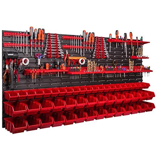 Werkzeugwand 1728 x 780 mm Stapelboxen Werkzeughalter Wandplatte Halterungsschienen Garage Lager Werkstatt Hobby (50 Boxen rot)