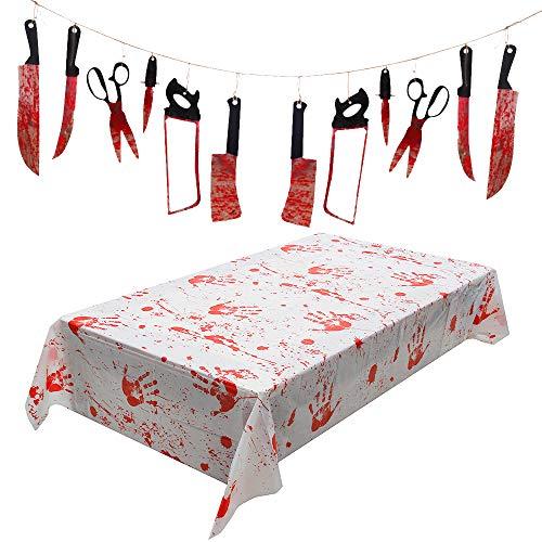 Wishstar Blutige Tischdecke Halloween Deko Horror Deko Set Grusel Deko einschließlich Blutige Waffen Messer Garland und Blutige Tischdecke 260 x 130 cm für...