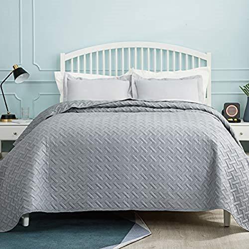 BEDSURE Tagesdecke 200x220 grau Schlafzimmer- Bettüberwurf 200 x 220 cm für Bett, Wohndecke aus Mikrofaser mit Ultraschall genäht, als Steppdecke Sommer...