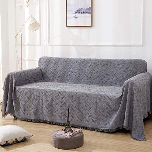 Rose Home Fashion Mehrzweck Sofabezug Sofaüberwurf aus Baumwolle 260 x 180cm, Couch Überzug, Bettüberwurf Tagesdecke Sofa Überzug für 2 Sitzer, S, Grau