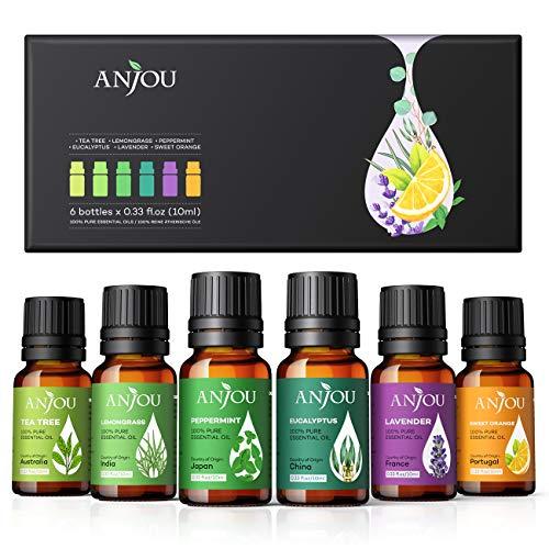 Anjou Ätherische Öle Set [2020 Neueste] Aromatherapie Duftöl Öl 6x 10ml für Aroma diffuser 100% Pur Geschenkset Aromatherapie-Öl-Kit Lavendel Teebaum...