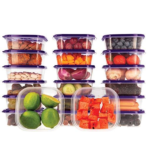 Oursson Frischhaltedosen Set aus BPA-freiem Plastik, Vorratsdosen-Sets, mit lila Deckeln, Lunchbox, CP10081S/SP (20x400 ml, Lila)