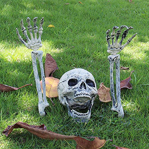 Halloween Deko Skelett Schädel Realistisch Grausigkeit Begraben Lebend Skelett Schädel Garten Hof Rasen Dekos für Halloween Garten Hof Rasen Dekoration