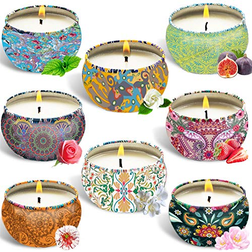SaiXuan Duftkerze Aroma Kerzen,8PC Duftkerzen Geschenk Set,Aromatherapie Natürliches Sojawachs Aroma Kerze,für...