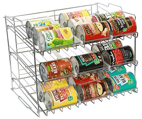 Amtido stapelbares Vorratsregal, Küchen-Organizer für Konserven und Getränkedosen, Aufbewahrung für 36 Dosen, - Chrom