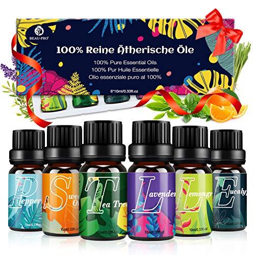 Ätherische Öle Set Diffuser Duftöl - 100% Naturrein Aroma Diffuser Aromatherapie Öl Aromaöl Duftöle - TOP 6x10ml Essential Oils - Pfefferminze, Süße...