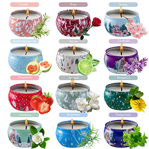 SaiXuan Duftkerzen Geschenk-Set, 12 Stück Natürliche Sojawachs Duftkerzen, Aroma Kerzen, Vanille, Lavendel, Rosa Duftkerze für Aromatherapie, Massage, Stress...
