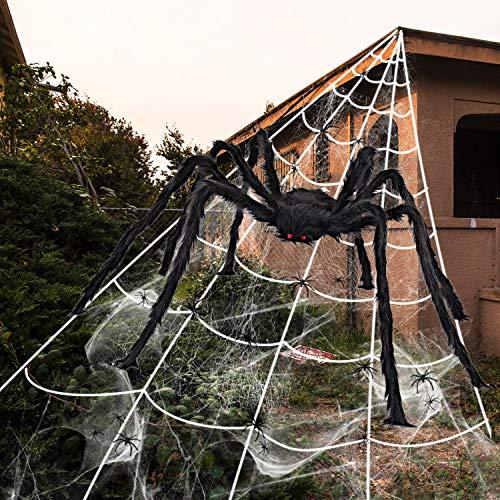 iZoeL Halloween Deko 700cm Riesige Spinnennetz + 200cm Spinne + Spinnweben + 30 Mini Spinne, Halloween Garten Deko Außendekoration Riesenspinne (Spinnennetz +...