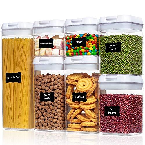 Vtopmart 7er Vorratsdosen Set,Müsli Schüttdose & Frischhaltedosen, BPA frei Kunststoff luftdicht, Küche Vorratsbehälter mit Deckel,24 Etiketten für Mehl,...