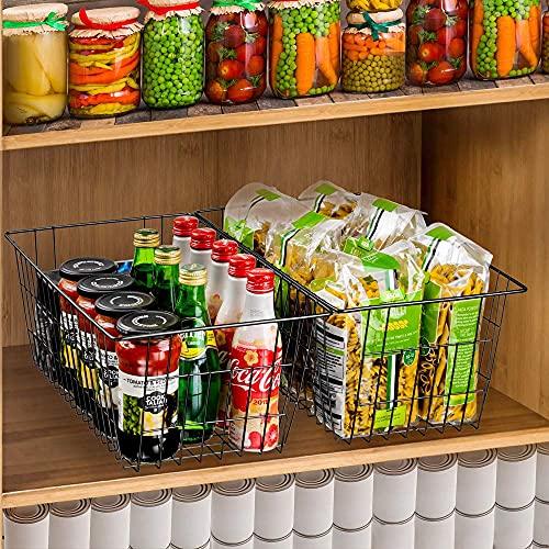 SANNO Aufbewahrungsbehälter 24 x 40 x 16cm, groß, Drahtkorb Organizer für Kühlschrank, Büro, Bad, Speisekammer, Organisation, Ablage mit Griffen, 2er-Set...