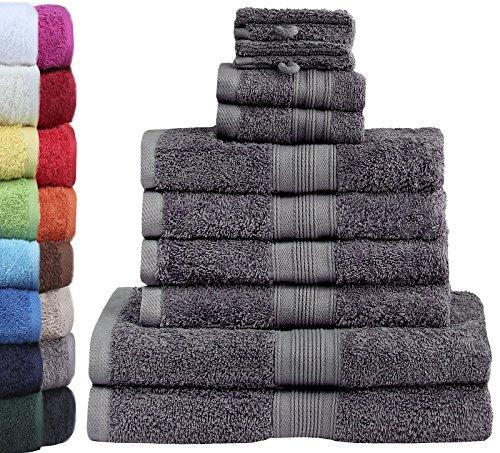 GREEN MARK Textilien 10 TLG. FROTTIER Handtuch-Set mit verschiedenen Größen 4X Handtücher, 2X Duschtücher, 2X Gästetücher, 2X Waschhandschuhe | Farbe:...