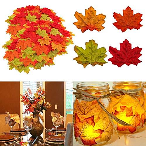 Muscccm Herbst Dekoration Ahornblatt, 400 Stück Verschiedene gemischte Herbst farbige künstliche Ahornblätter für Hochzeiten, Thanksgiving, Veranstaltungen...