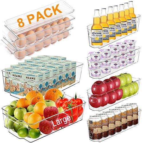 Packung mit 8 Kunststoff-Küchenvorratsbehältern, stapelbaren Kühlschrank-Organizer-Gefrierschrank-Organizer-Aufbewahrungsbehältern mit Griffen, BPA-freier,...