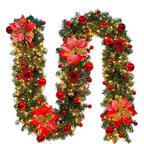Weihnachtskranz mit LED Lichterkette Beleuchtung 270cm Weihnachtsgirlande künstlich Weihnachten Girlande Weihnachtsdeko Weihnachten, Türkranz Innen und Außen...
