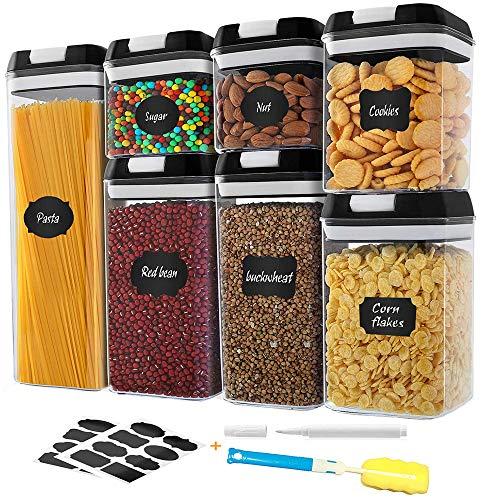 Frischhaltedosen, luftdicht, gute Griffe, 7-teilig, versiegelt, auslaufsicher, BPA-frei, Kunststoff-Aufbewahrungsbehälter mit sicherem Deckel, 16...