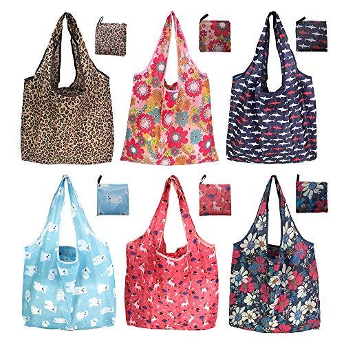6er/Pack 42x64cm Wiederverwendbare Faltbare Einkaufstasche,Tragbare Einkaufstasche Faltbar Einkaufsbeutel,Umweltfreundliche Einkaufstaschen,Faltbar...