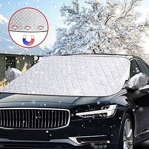 Scheibenabdeckung,DIAOCARE Auto Frontscheibe Abdeckung Frostabdeckung Windschutzscheiben Abdeckung Winter,Magnet Fixierung Auto Abdeckung Anti-Schnee Wind Frost...