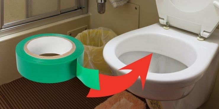 Tesaband auf Toilette