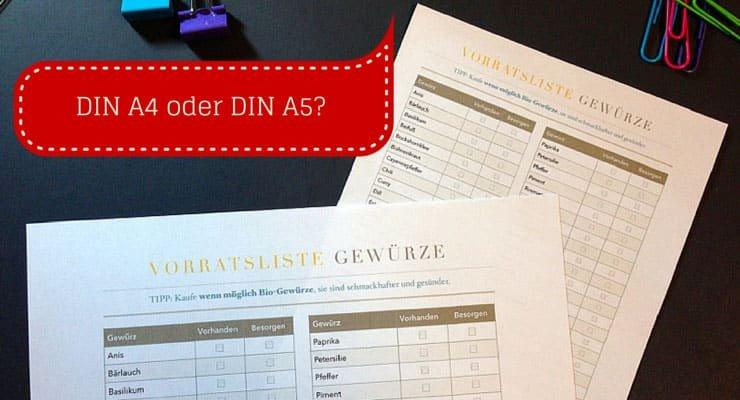 Entscheide dich beim Haushaltsordner anlegen für ein Format, entweder DIN A4 oder DIN A5.