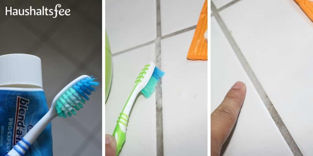 Schimmel Fugen entfernen mit einer alten Zahnbürste