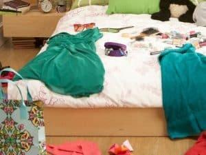 Bett voller Unordnung