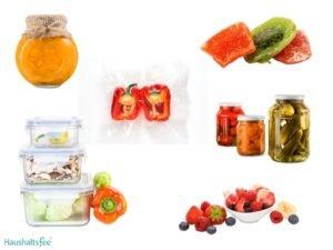 Lebensmittel in Gläsern und Dosen